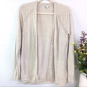 GAP merino wool button front cardigan neutral tan